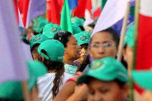 La Via Campesina activists at a demonstration for a sustainable economy during the  Rio+20 conference.