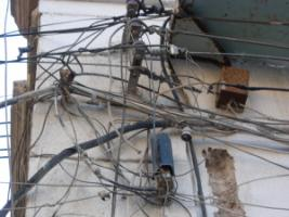 Illegal electricity connections in Morocco.