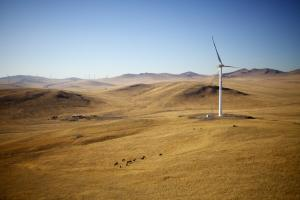 China plans to increase wind power generation: turbines on the Mongolian steppe.