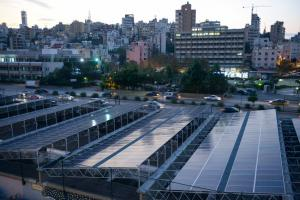 Renewable energy industries generate jobs worldwide. Solar panels on the Beirut River in Lebanon.
