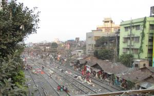 Many slums grew on railway land, like this one in Kolkata.