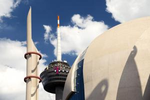 Islam is part of Germany: mosque and TV tower in Cologne.