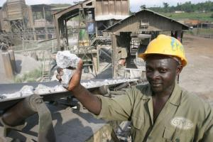 African economies are still geared to commodity exports: manganese-ore mine in Ghana.