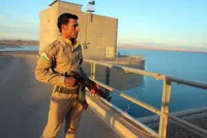 A Kurdish fighter protecting the Mosul dam.