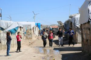 Children in Al-Karama – a camp for internally displaced persons in northern Syria.