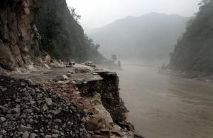 Mountain road damaged by flashfloods in North India in June.