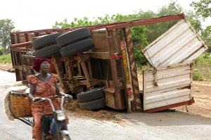 Risky roads – entire families can be plunged into poverty because of accidents like this one in Burkina Faso.