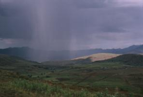 Heavy rain in Lesotho: changing weather patterns will hurt agriculture.