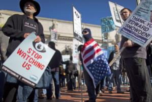 Opponents of the US administration's surveillance programme in Washington.