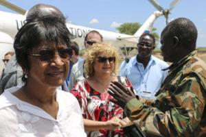 Navi Pillay as High Commissioner for Human Rights during an official trip to South Sudan in 2014.