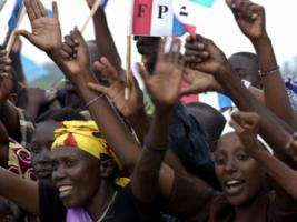 Rwanda has one of the world's most gender-sensitive constitutions: female supporters of the Rwandan Patriotic Front party in the run-up to the 2003 election.