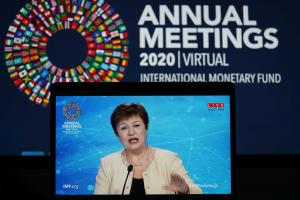 Not calling for austerity: Kristalina Georgieva of the IMF addressing a digitised press conference last year.