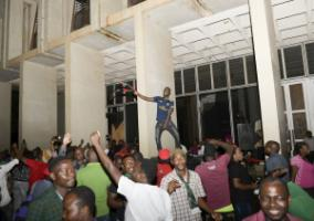Opposition party supporters celebrate following the Constitutional Court's ruling in Malawi's capital Lilongwe.