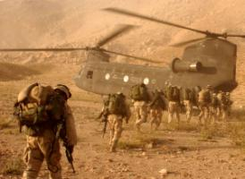 US soldiers boarding a helicopter in Afghanistan in late 2001.