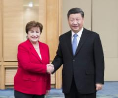 Top leaders: Kristalina Georgieva of the  IMF with Xi Jinping, President of China, in Beijing in 2019.