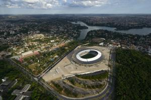 All ready for the World Cup: The stadium roofs of the Brazilian World Cup venue Belo Horizonte have been equipped with large scale solar systems financed by KfW.