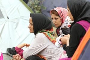 Afghan women in the illegal refugee camp in Pedion Tou Areos, Athens' largest park.