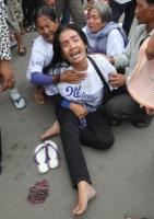 A resident of the Boeung Kak lakeside cries during a protest in Phnom Penh in 2011.