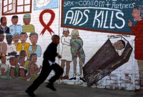 Mural in Soweto in 2002: HIV/AIDS was an increasingly devastating disease in southern Africa at the turn of the Millennium.