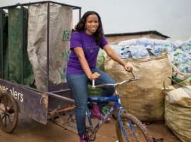 Bilikiss Adebiyi-Abiola on a wecycle.