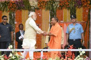 Nardendra Modi and Yogi Adityanath in March.
