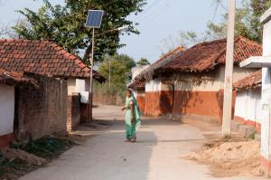 Solar panel in a village in Jharkand state.