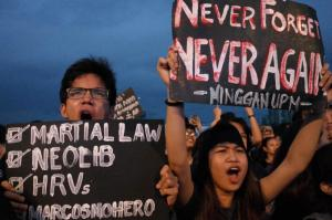 Rally opposing re-burial of Ferdinand Marcos, the former dictator, on Manila's National Heroes Cemetery in November.