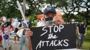 Upset about extrajudicial executions: protester at an anti-Duterte rally in Manila in September 2020.