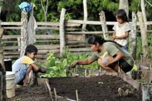 """In the Chiquitanía region, smallholder farmers, major landlords and indigenous people disagree about who should have access to land"": A farmer's family sowing vegetable seeds."