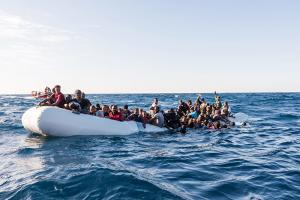 Refugees found in distress at sea off the Libyan coast in early 2018.