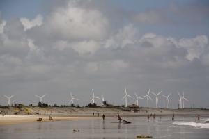 There is growing business investment in renewable energies: wind farm in Ceará in north-eastern Brazil.