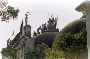 Hindu fanatics on the roof of Babri Mosque in Ayodhya in December 1992.