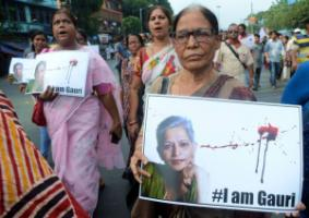 Protestors commemorating Gauri Lankesh, the murdered Bangalore-based journalist.
