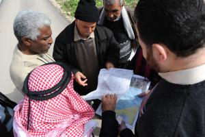 Palestinian citizens participating in municipal planning.
