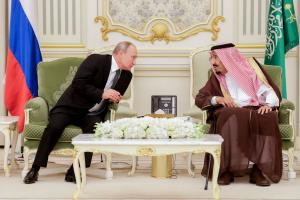 Tense relationship: Russian President Vladimir Putin and Saudi King Salman in Riyadh in October 2019.