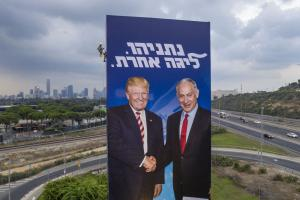 """Trump and Netanyahu on an Israeli election poster. The writing means: """"Netanyahu, another league""""."""