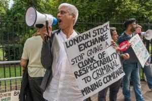 Protest in London in August against British mining companies that are accused, among other things, of evading taxes in Africa.