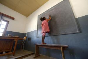 Girl in a classroom in Madagascar