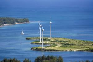 Sustainable energy source: wind turbines on the island of Mahé in the Seychelles.