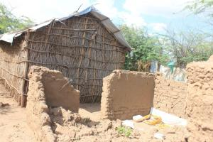 This mud-brick house collapsed after a flood.
