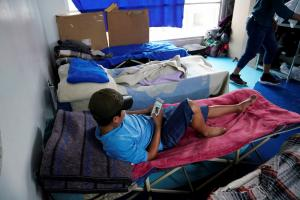 Unaccompanied child stuck at the Mexican border to the US in Tijuana, hoping to reach the USA.