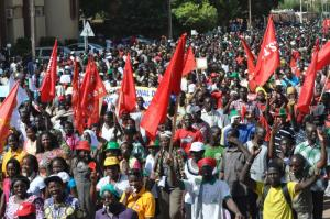 Demonstration in Ouagadougou on  29 October 2014 against the constitutional amendment proposed by President Compaoré, who wanted to extend his time in office.