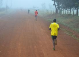 Runners during a morning training session in Iten, Kenya.