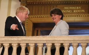 Disloyal future prime minister Boris Johnson with loyalist DUP leader Arlene Foster in summer 2019. Before rising to power, Johnson insisted there would be no border between Great Britain and Northern Ireland, but his Brexit agreement with the EU would introduce one.