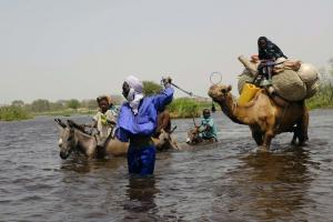 People crossing a tributary to Lake Chad.