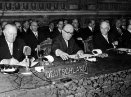 The German delegation, led by Chancellor Konrad Adenauer (left), attending the conference in Rome in 1957 that concluded several agreements, including on the common market and Euratom.