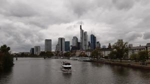 """""""Money laundering in prosperous financial centres is compounding the fiscal problems of developing countries."""" Frankfurt skyline."""