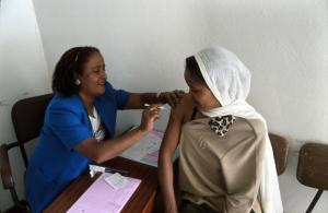 A woman is given a contraceptive injection in Addis Ababa, Ethiopia.
