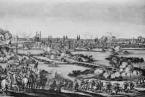 The idea of international law emerged during the 30 years war: After the siege of Magdeburg, the city was destroyed and several thousand people were killed in 1631.