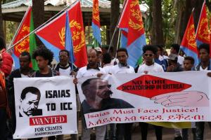 Eritrean refugees rally in Addis Ababa at the AU head office, demanding that President Isaias Afewerki face justice.
